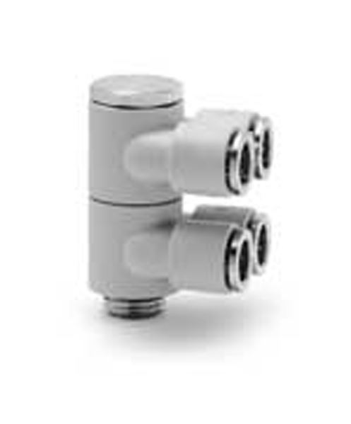 7642 02 Two Double Outlets Plastic Push In Fitting